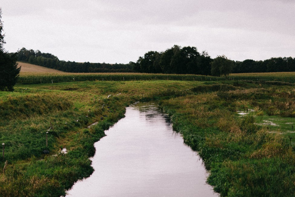 Quiet flowing stream in the peaceful countryside of Randers, Denmark.