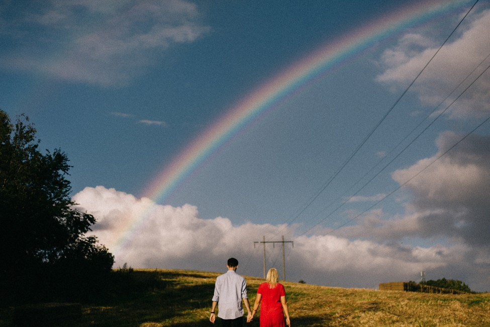 Caleb and Miriam were lucky to witness a rainbow during their engagement photos, the night before their elopement wedding in Denmark.