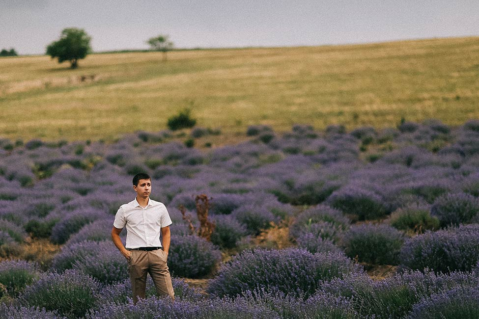 Groom waits for his bride in a lavender fields of Bessarabia.