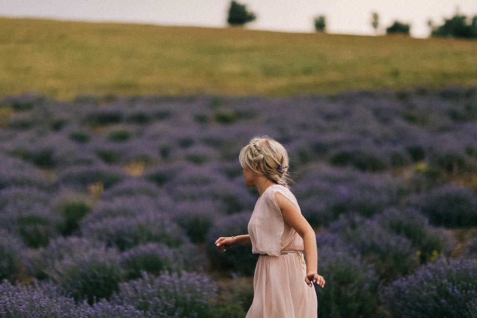 A bride walks in French lavender field in the Luberon for wedding photography.