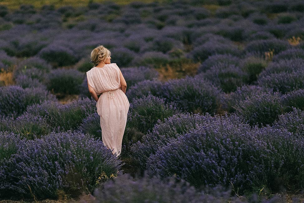 Portrait of a bride in a lavender field in France.