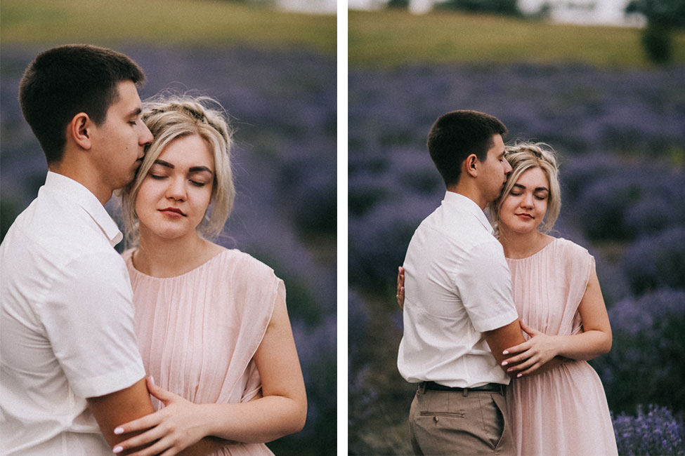Lavender field engagement photography.