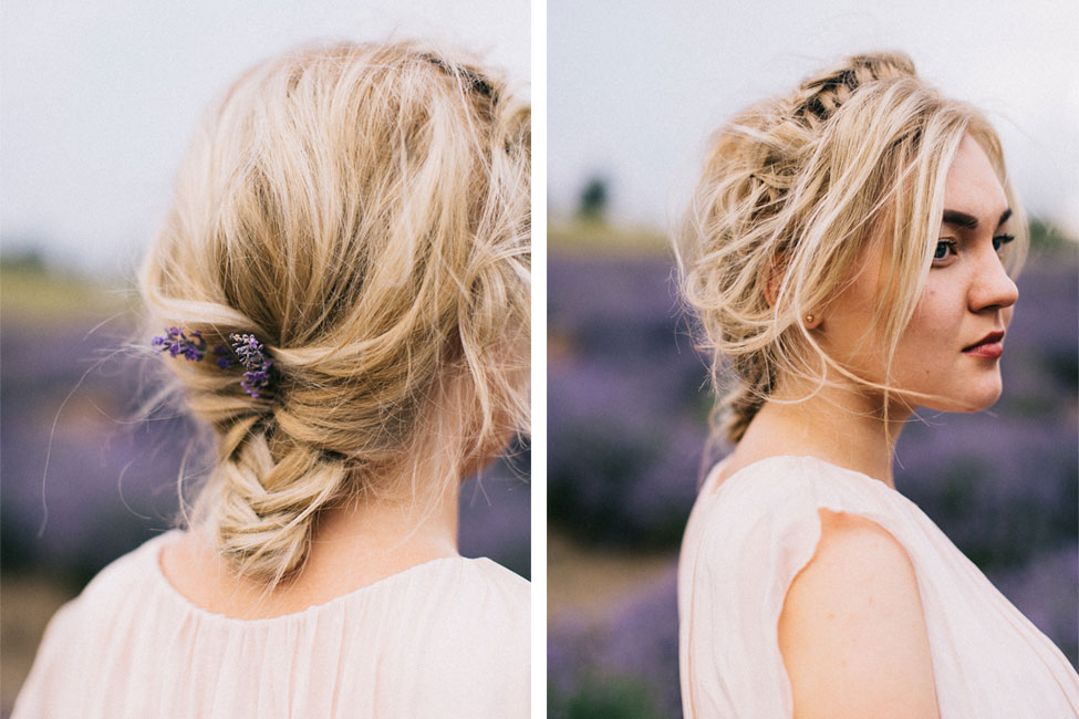 Best hairstyles for brides on their wedding day with flowers in her hair.