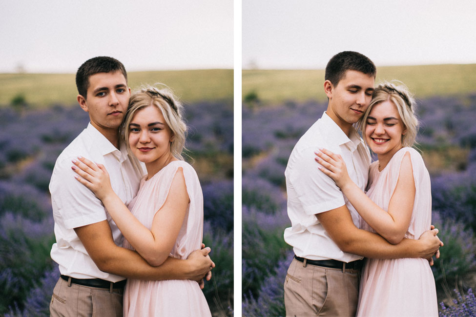 Young couple in love and film wedding photography in Europe.