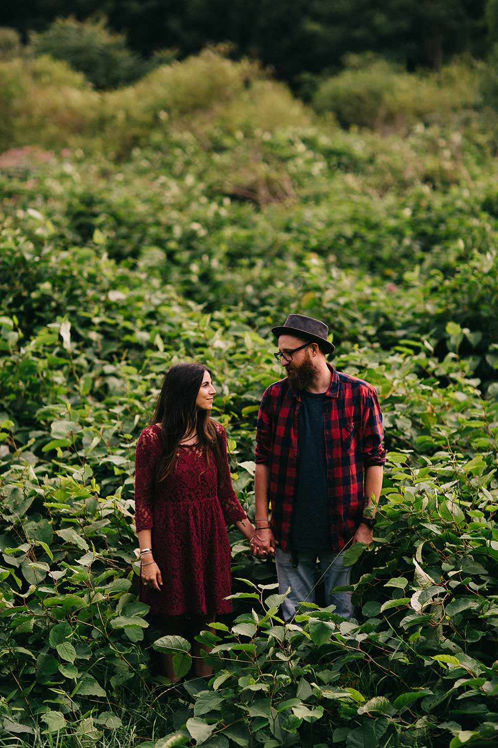 Hipster couple in bohemian wedding adventure in Austrian engagement photography session.