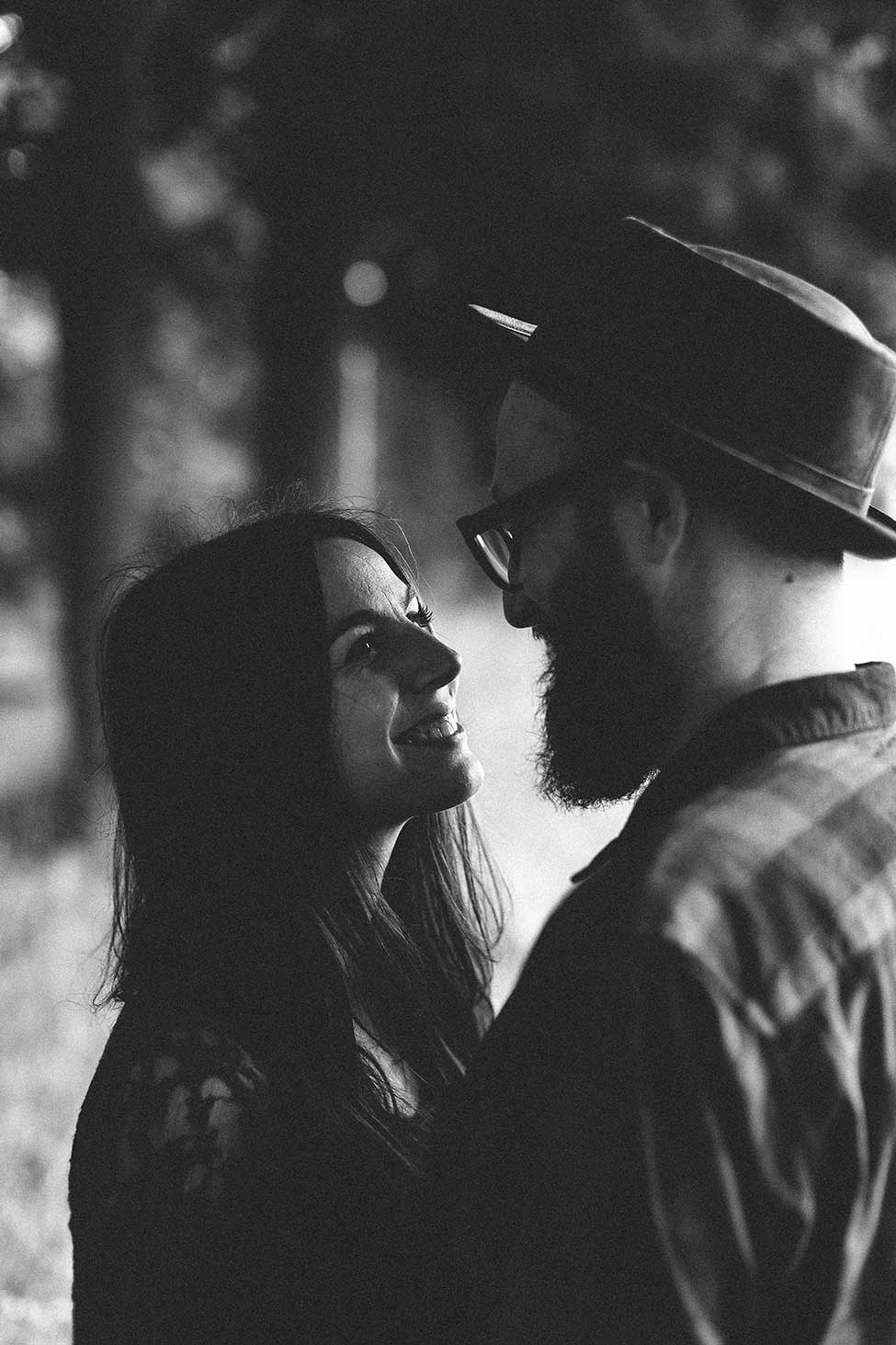 Fine art and film noir face off in this moody engagement photography.
