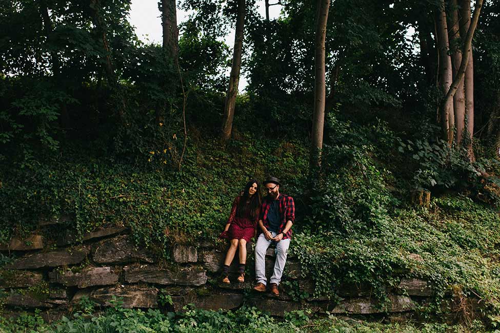 Adventuring in the forests of Europe on this engagement session by we are the hoffmans.