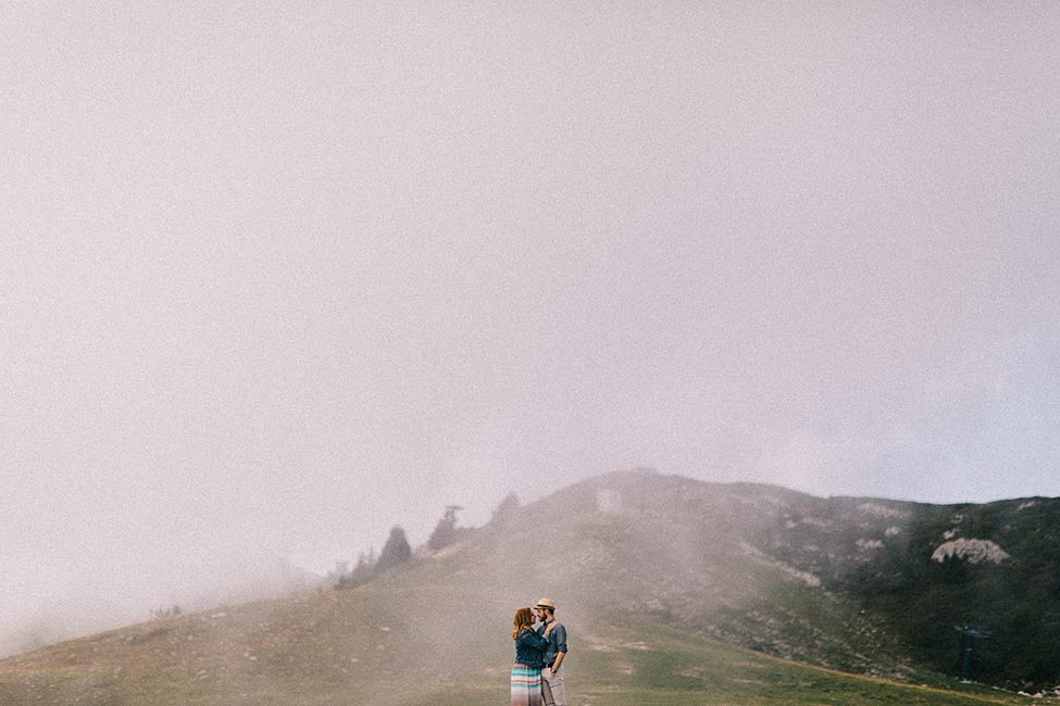 Destination wedding in the fog by a travel wedding photographer.