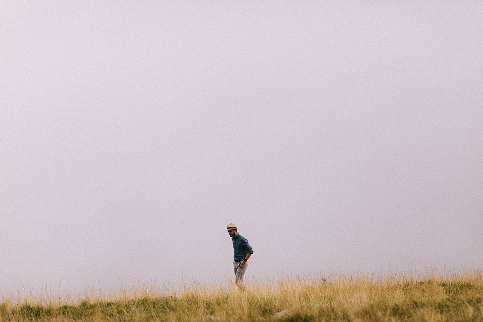 Foggy mountain engagement photos with sheep, by we are the hoffmans.